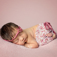 Rose Pink Newborn Pants Set w/ matching tieback - you choose your pieces.
