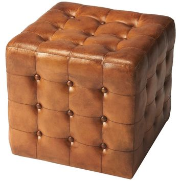 Leon Brown Leather Ottoman