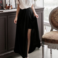 White and Black Short Sleeve Ankle Length Asymmetrical Dress