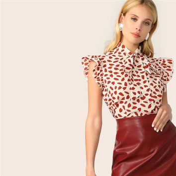 Elegant Bow Tie Neck Ruffle Trim Petal Print Top Blouse Women Office Lady Workwear Sleeveless Blouses