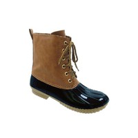 AXNY DYLAN Women's Lace Up Two Tone Combat Style Calf Rain Duck Boots, Color:NAVY, Size:10
