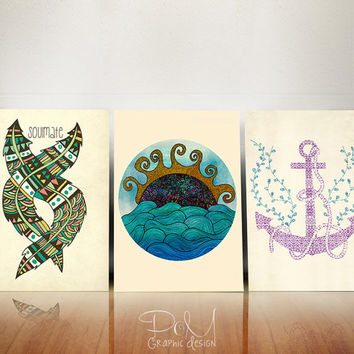 15% OFF Tribal Nautical Series 8x10 or 11x14 - Set of 3 Discounted Poster Prints