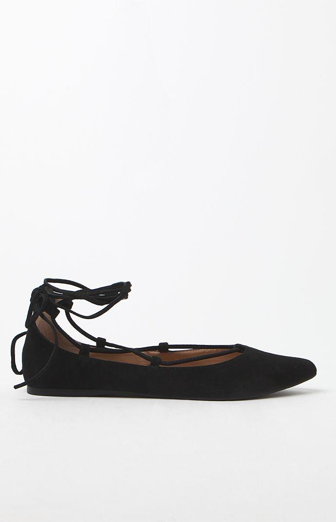 Steve Madden Eleanorr Faux Leather Lace-Up Flats - Womens Shoes - Black 3d6eec309f74