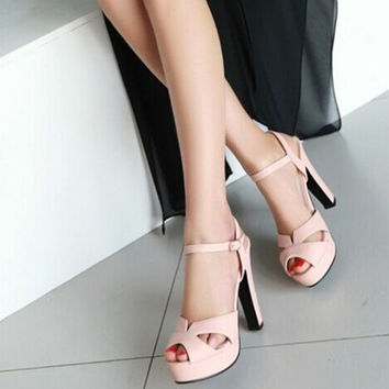 "Ladies 4.9"" Big sizes(4 to 12) Sexy Buckle wedges heel peep toe sandals fashion Ankle-Wrap thin shoes in 5 colors summer style"