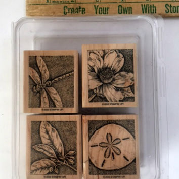 Stampin Up Natures Wonders Set of 4 Wood Rubber Stamps Dragonfly Sand Dollar Flower Wooden Embossing Scrapbooking Supplies Mounted Case