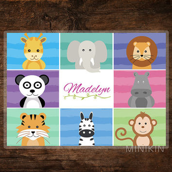 Large Personalised Placemats Place Mat Jungle Safari Animals Kids Children Wipe Clean Giraffe Panda Tiger Lion Monkey Zebra 297mm x 420mm A3