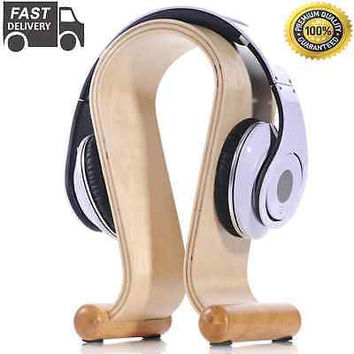 US SELLER FAST DELIVERY High Quality Wooden Wood Omega Headset Hanger Light Gift