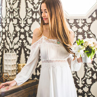 Sydney White Cold Shoulder Crochet Dress