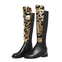 GIANNA Embroidery Knee High Boots