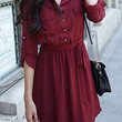 Red Long Sleeve Button Up Dress with Belt