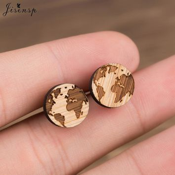 Jisensp Handmade Globe Map Earrings for Women Men Jewelry Gift Geometric Round Wooden Earrings Female Christmas Accessories
