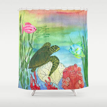Sea Turtle Shower Curtain - Sea Turtle Shores -  Watercolor Art, Sea Turtle, fish, undersea, coral reef, bright, bold, coastal decor