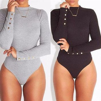 Sexy Womens Long Sleeve Stretch Bodysuit Lady Leotard Body Tops Fashion Women Ladies Bodysuits