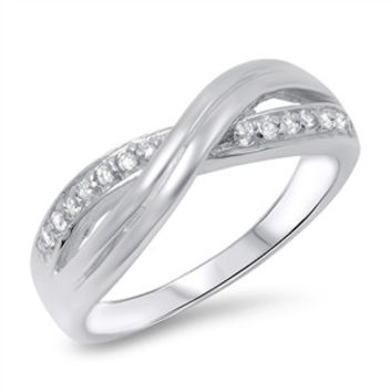 925 Sterling Silver CZ Infinity X Knot Ring 7MM