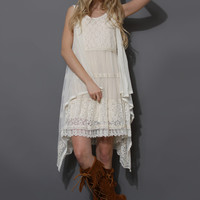 Floral Lace Crochet Waterfall Poncho Beige Free