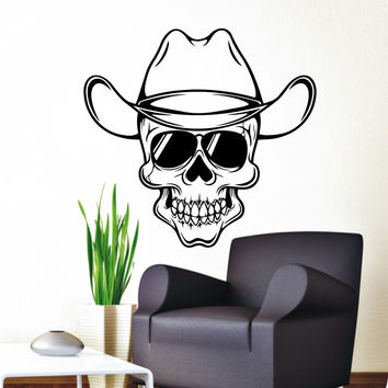 Skull Wall Decals Cowboy Hat Decal Kids Living Room  Bedroom Home Window Decor Vinyl Stickers Art Room Mural M-48