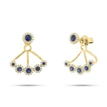 0.33ct Diamond & 0.57ct Blue Sapphire 14k Yellow Gold Earring Jacket with Studs