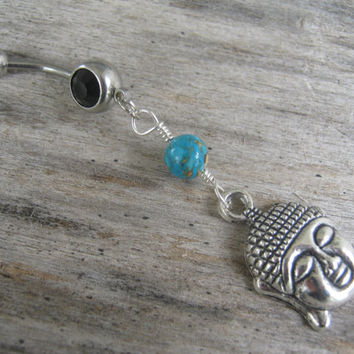 Buddha Turquoise Belly Ring, Yoga Belly Button Ring, Personalized Birthstone Piercing, Buddhist Body Jewelry, Buddha Navel Ring, Silver