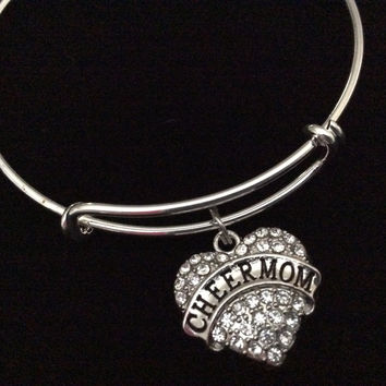 Crystal Heart Cheer Mom Expandable Silver Charm Bracelet Adjustable Wire Bangle Handmade Gift Trendy Cheerleader Stacking Bangles