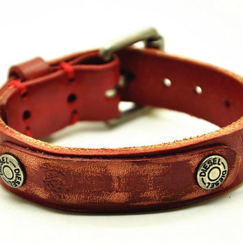 Real Red Soft Leather DIESEL Bracelet Women's Leather Bangle Bracelet, Men's Leather Cuff Bracelet, Unisex Leather Bracelet  CB16
