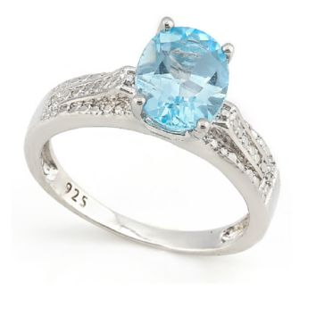 Solid .925 Sterling Silver 5.0CT Genuine Blue Topaz and Diamond Ring