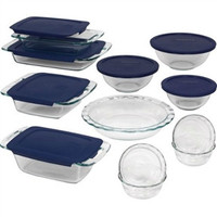 19-Piece Glass Pyrex Cookware Bakeware Set with Blue Lids