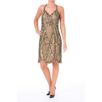 Sue Wong Womens Embellished Cut-Out Cocktail Dress