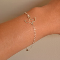 Cute Openwork Dove Bracelet, 925 Sterling Silver, Double Chain, Simple, Delicate, Everyday Wear Bracelet