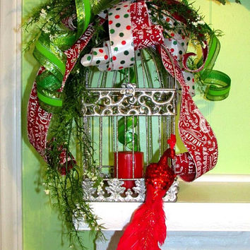 Mantle decor, festive table decor, Christmas wedding decor, bow swags, holiday decorations, Christmas candle decor, red silver Christmas