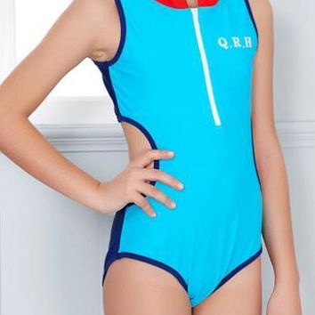 A| Chicloth Large Size Girls Sporting Bathing Suits Kids One Piece Swimsuit