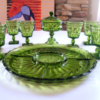 VINTAGE SPARKLING GREEN Tabletop Entertaining 8 Mid Century Stemmed Goblets, Glass Divided Dish Tray, Bowl Formal Serving Ware Indiana Glass