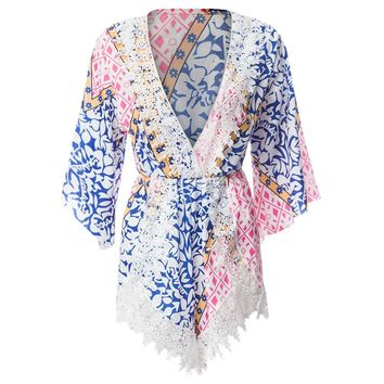 Bohemian Plunging Neck 3/4 Sleeve Laciness Printed Women's Romper