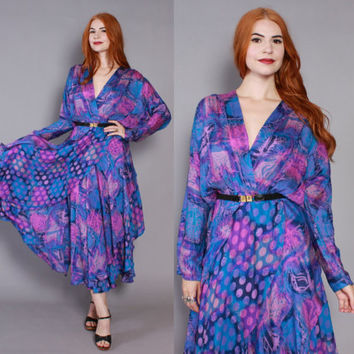 Rest Photos70s SILK Gypsy DRESS / Indian Ethnic Polka Dot Maxi