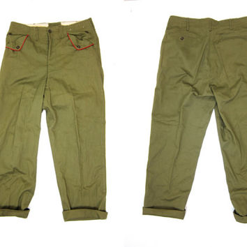 Vintage Boy Scout Pants Mens Olive Green 50s Boyscout Pants Authentic Army Green Pants High Waist Mens Trousers Grunge Preppy Jeans Mens
