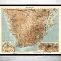 Old Map of South Africa Africa du Sud