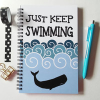 Writing journal, spiral notebook, sketchbook, bullet journal, blue and white, motivational, blank lined or grid paper - Just keep swimming