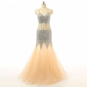 Mermaid Beaded Formal Dress Halter Neck Evening Dresses Women Formal Gowns