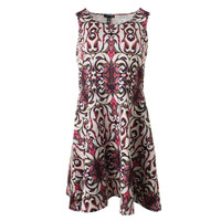 Aqua Womens Paisley Print Sleeveless Casual Dress