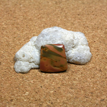 Red Creek Jasper Square Cabochon - Orange Pink and Green Smooth Undrilled Cab