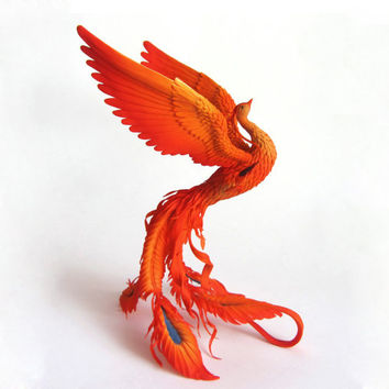 Phoenix bird statue - original handmade OOAK Fire bird Figurine Statue Figure Fantasy Bird Sculpture  yellow orange red flame flame Creature