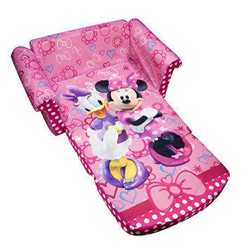 Marshmallow Furniture, Children's 2 in 1 Flip Open Foam Sofa, Disney Minnie Mouse Bow-tique, by Spin Master
