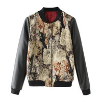 Color Block Cat Print Button Down Panel Jacket