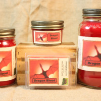 Dragon Blood Scented Candle, Dragon Blood Scented Wax Tarts, 26 oz, 12 oz, 4 oz Jar Candles or 3.5 Clam Shell Wax Melts
