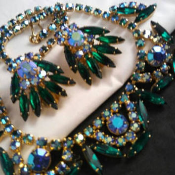 Juliana D&E Aurora Borealis Skinny Navette Collar Necklace and Earrings Set - Vintage Statement Rhinestone Demi - 60's Jewelry