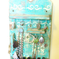 Jewelry Display, Accessories Holder, Necklace, Earring, Bracelet Display, Disstressed, Teal and Yellow