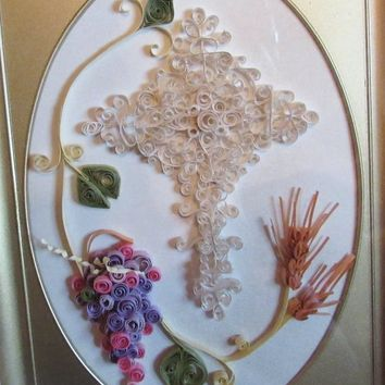 Vintage Paper Art, Brass Framed, Cross / Grapevine Design, Vintage Handmade Art