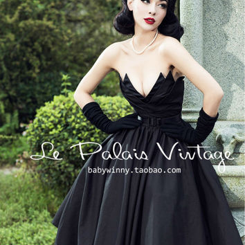 FREE SHIPPING Le Palais Vintage Limited elegant retro irregular mosaic high waist wrapped dress/strapless