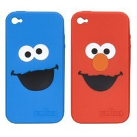 i.Sound Elmo and Cookie Monster 2 Pack Silicone Case for iPhone 4 - AT&T - 1 Pack - Retail Packaging - Red/Blue