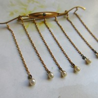 Antique Edwardian 10K Bar Pin with Seed Pearl Dangles