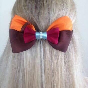 Ralph Wreck It Ralph Orange and Brown Overall Bow, I'm Gonna Wreck It by Design Bowtique
